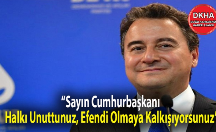 Babacan'dan Erdoğan'a:  'Sayın Cumhurbaşkanı, Halkı Unuttunuz, Efendi Olmaya Kalkışıyorsunuz'