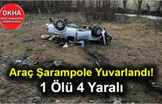 Araç Şarampole Yuvarlandı! 1 Ölü 4 Yaralı