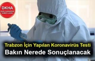 Trabzon İçin Yapılan Koronavirüs Testi Bakın...