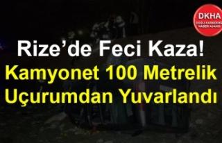 Rize'de Feci Kaza! Kamyonet 100 Metrelik Uçurumdan...