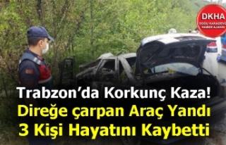 Trabzon'da Korkunç Kaza! Direğe çarpan Araç...