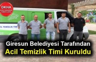 Giresun Belediyesi Tarafından Acil Temizlik Timi...