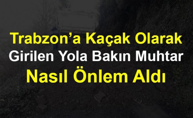Trabzon'a Kaçak Olarak Girilen Yola Bakın Muhtar Nasıl Önlem Aldı